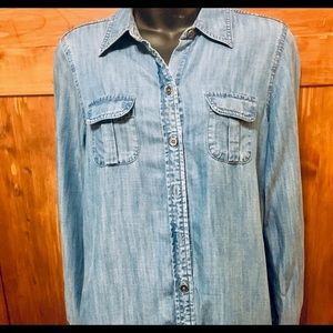 Foxcroft Blue Chambray Shirt